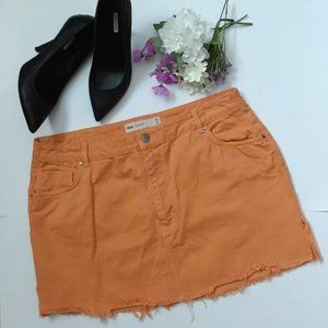 Asos Denim Orange Raw Hem Mini Skirt Size 14